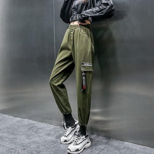 haochenli188 Pantalones Harem De Cintura Alta Casuales Bolsillos Negros Pantalones Largos SóLidos EláSticos Mujer PantalóN Pitillo BáSico Capris Haute Femme TamañO AsiáTico Armygreen