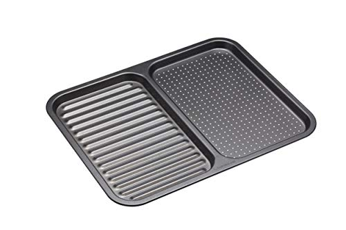 "masterclass KCMCHB99 Master Class Non-Stick 2-in-1 Divided Crisping Ridged Baking Tray, 39 x 31 cm (15"" x 12""), Carbon Steel, Grey, 39 x 31 x 1,5 cm"