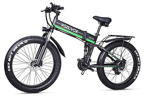 VOZCVOX Bicicleta Eléctrica Plegable, 1000W Bicicleta De Montaña Eléctrica para Adultos, 26 Pulgadas E-Bike, Engranaje De 21 Velocidad De Shimano