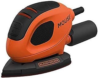 Black+Decker 55W Corded Compact Detail Mouse Sander for Precision & Detailing Work, Orange/Black - BEW230-GB, 2 Years Warr...