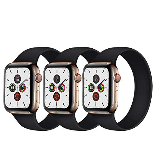 Seltureone - Set di 3 cinturini per Apple Watch Band 38 mm 40 mm 42 mm 44 mm Loop, all-in-one, in silicone, per iWatch SE, serie 6 5 4 3 2 1 Sport Edition (S/M/L)