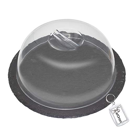 e!Orion Quesera Redonda con Tapa de Plastico – Caja Queso de Pizarra – Ideal para Conservar Frescos Tus Quesos - Diámetro Ø 20cm