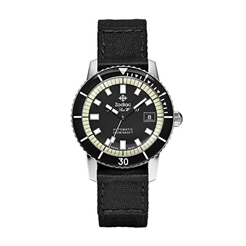 Zodiac Men's Super Seawolf Stainless Steel Swiss-Automatic Watch with Canvas...