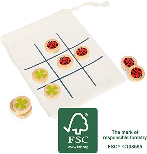 Small Foot 12019 Tic Tac Toe Jeu de Voyage en Bois certifié FSC 100% pour Petits et Grands en déplacement, dans Un Sac Jouet Multicolore