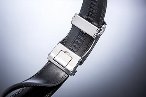 ZRO Men's 35mm Automatic Buckle Ratchet Leather Belt Black