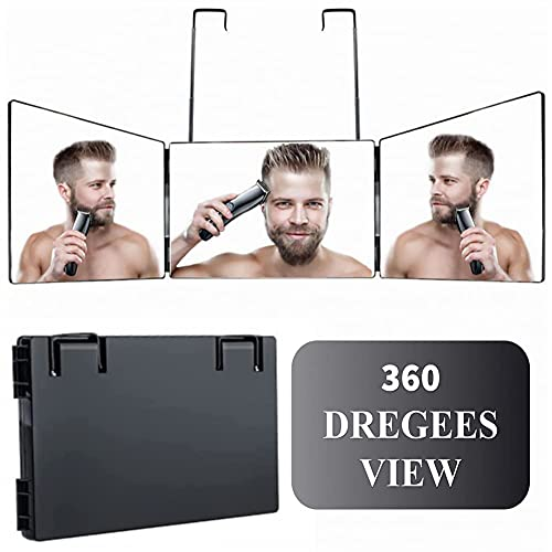 3 Way Trifold Haircut Mirror, 360 Degree Mirror for Hair Cutting, Shaving, Grooming, Hair Styling, Dye Hair and Makeup with Adjustable Height Brackets, Portable for Travel, Bedrooms, Bathroom