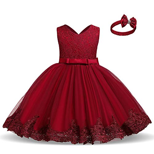 TTYAOVO Bebé Boda Bautismo Bautizo Tutu Vestido Chicas Princesa Vestir Talla(100) 2-3 Años 648 Rojo
