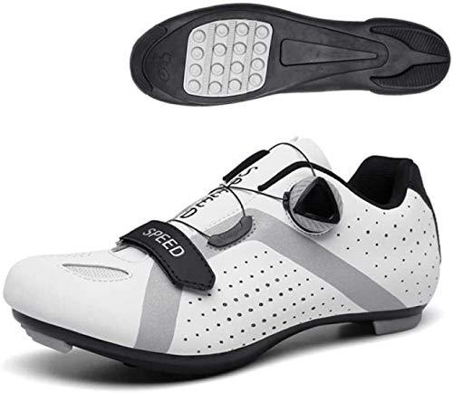 CHUIKUAJ Calzado de Ciclismo Hombres Mujeres Calzado Deportivo de Montaña de Carretera Sin Candados Calzado de Refuerzo de Bicicleta/Suela de Goma,White-40EU