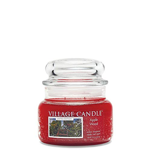 Village Candle Apple Wood, Small Glass Apothecary Jar Scented Candle, 9.25 oz, Red