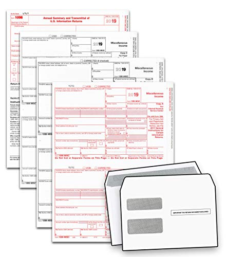 2019 Laser Tax Forms - 1099-MISC Income & Double Window Security Envelope Kit (3-Part Set), 50 Recipients - Park Forms