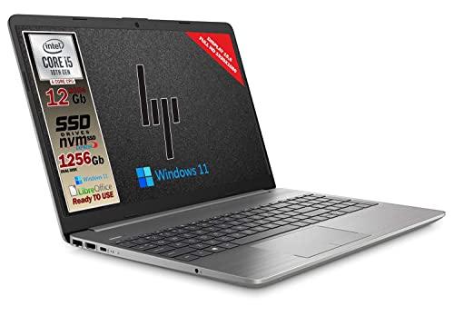 Notebook Hp 250 G8 Silver, Intel Core i5 10Th, 4 core, ram 12Gb Ddr4, SSHD da 1256 Gb, Display 15.6' Full HD, wi-fi, bt, 3 usb, webcam, Win 11 Pro, Libre Office, Pronto all'uso, Garanzia Italia