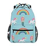 Ahomy Mochila con diseño de unicornio, sirena, peces, arco iris, mochila...