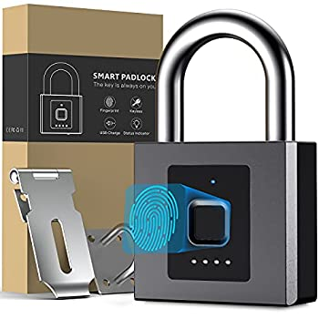 Fingerprint Padlock,Large Size Smart Padlock,Outdoor Bluetooth Fingerprint Lock with Mobile APP,Combination Lock with Hasp Latch ,Waterproof for Warehouse Gym Cabinets Office
