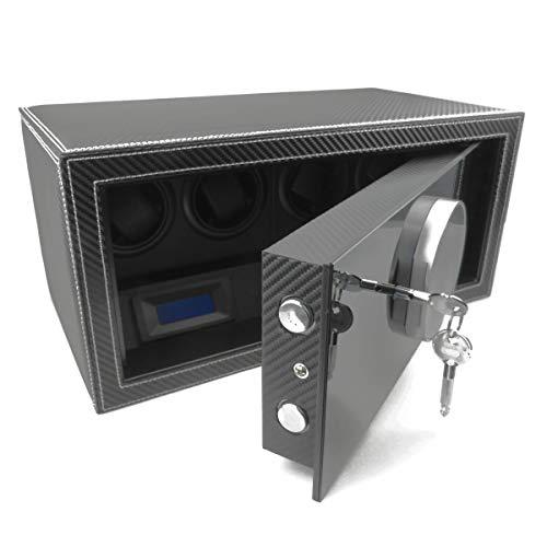 Safewinder® SmoothX 4 CARBON = Uhrenbeweger für 4 Uhren plus Tresor