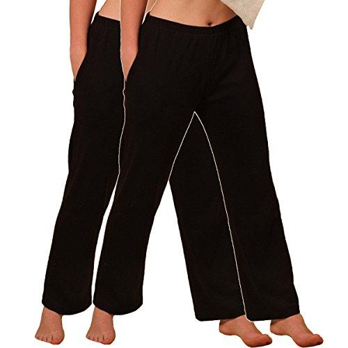 HERMKO 984 2er Pack Damen Homewear Hose aus Bio-Baumwolle, Farbe:schwarz, Größe:44/46 (L)