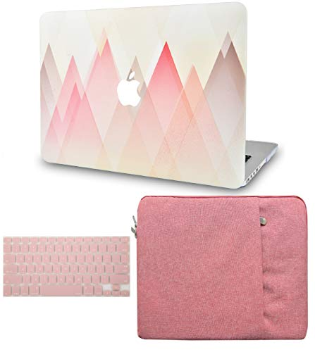 LuvCase 3 in 1 Laptop Case for MacBook Air 13 Inch(Touch ID) (2018-2020) A1932 Retina Display Hard Shell Cover, Sleeve & Keyboard Cover (Pink Grey Triangles)