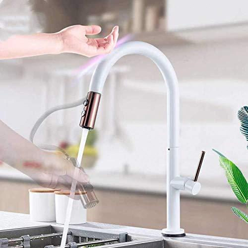 Waterkraan sensor keukenarmaturen witgoud touch inductief gevoelige waterkraan mengkraan eengreepsmengkraan Dual Outlet watermodi keukenkraan
