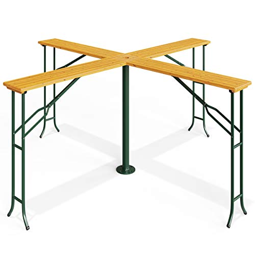 Deuba Folding Wooden Garden Table with Parasol 2.45m hole Outdoor Party Furniture