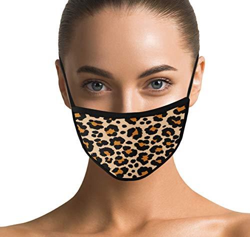 Design Maske aus 100% echter Baumwolle mit Leopardenmuster für Damen, Frauen und Mädchen - Masken Leopard mit Tragekomfort (Tiger)
