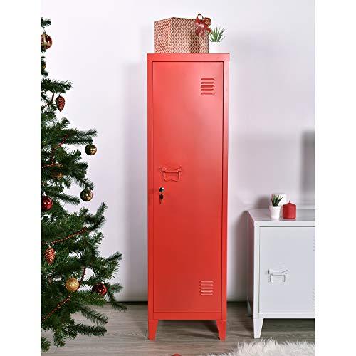 Garderobenschränke/Abschließbares/Aufbewahrungsfach/Schließfachschrank/Spind/Umkleideschrank/Metallschrank/Metallspind mit Schlüssel,3 Innenfächer (Rot, 38.5 x 38.5 x 137 cm)