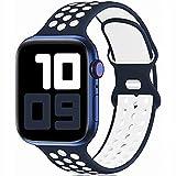 Fengyiyuda Sostituzione sportiva in silicone compatibile con cinturino Apple Watch 38 mm 40 mm 42 mm 44 mm, compatibile con iWatch serie 6/5/4/3/2/1/SE Midnight Blue&White-42/44-S