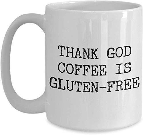 N\A Thank God Coffee is Gluten Free Coffee Mug Taza de café de cerámica