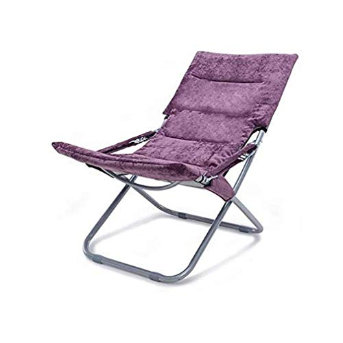 wuzhengzhijia Modern Folding Chair, Sofa Chair, Soft and Comfortable Nap Chair, Portable Lounge Chair, Multi-functional Breathable Beach Chair, Easy to Clean (Size : Purple)