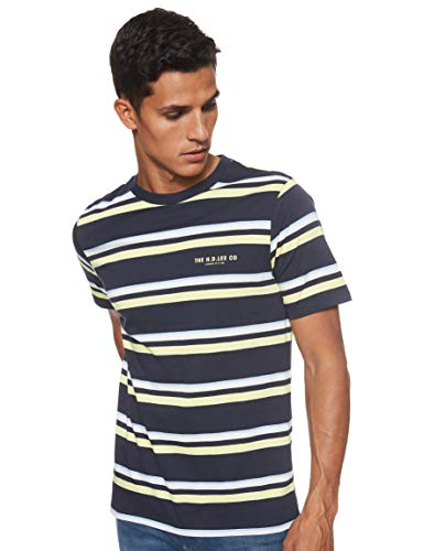 Lee Stripes Camiseta, Azul (Sky Captain Hy), Large para Hombre