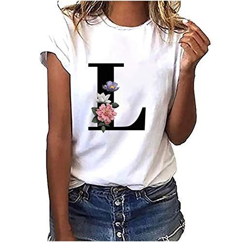 Sport Shirt Damen Kurzarm Oberteile Giraffe mit Blumen Drucken T Shirt Tshirt Bluse Sweatshirt Kurzarm Tee Tops Damen Shirt The Letter L XXL