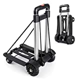 Portable Hand Trucks Luggage,155 lbs Capacity Heavy Duty Hand Cart with 4 Wheels and Adjustable Handle, Luggage Cart Dolly for Travel, Moving, Shopping and Office Use