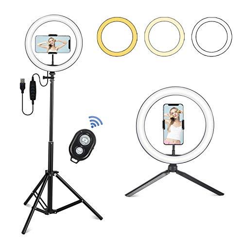 ARTETHYS LED Ringlicht 26cm, Dimmbare Ringleuchte, Bluetooth-Fernbedienung, RGB, 10 Helligkeit mit Desktop Stativ, Verstellbarer Stativständer, Selfie Stick für TikTok/YouTube/Makeup