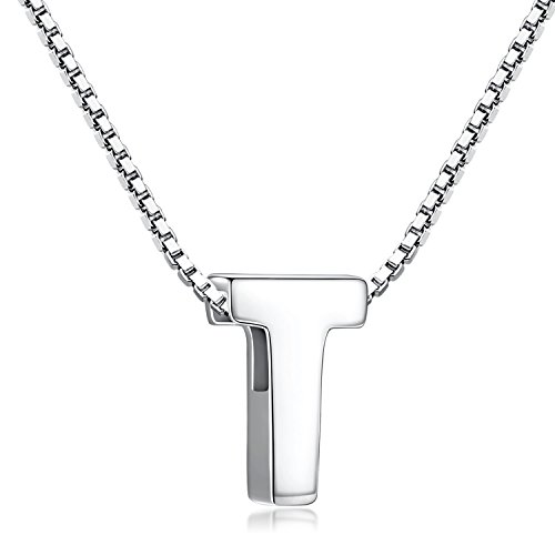 Candyfancy 925 Sterling Silver Initial Necklace with Letters Pendant Personalised Alphabet A-Z for Women Men (T with Chain)