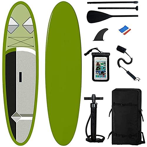 Gaoweipeng Tabla Paddle Surf Hinchable Stand Up Accesorios y Mochila Sup, Bolsa Seca, Asiento de Kayak Ajustable, Aleta Grande, Correa, Remo y Bomba, Bote de pie para jóvenes y Adultos,Verde