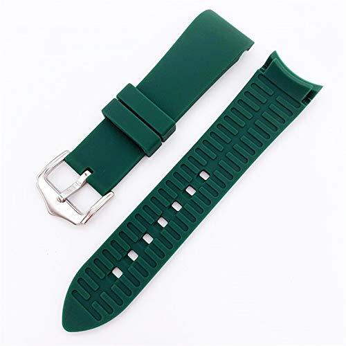TWWSA Exquisito 18 mm 20 mm 22 mm 24 mm Strap de Silicona Suave Universal Codo Curvado Curvado de Goma Deportes Impermeable Reemplazo Pulsera Reloj Accesorios para reemplazar