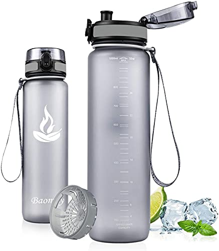 Baomay Botella de Agua Deportiva 500ml, Adultos/Niños Bottle con Filtro, Bidon de Bebidas Plástico Tritan, para Gimnasio, Ciclismo, Trekking | Sin-BPA & Impermeable & Reutilizable (Gris)
