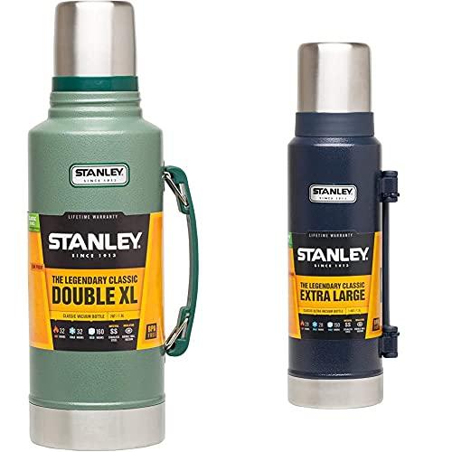 Stanley Termo Estilo Clásico (1,9 L), Color Verde + 658500 Frasco Térmico, Color Azul Marino, Talla 1.3L