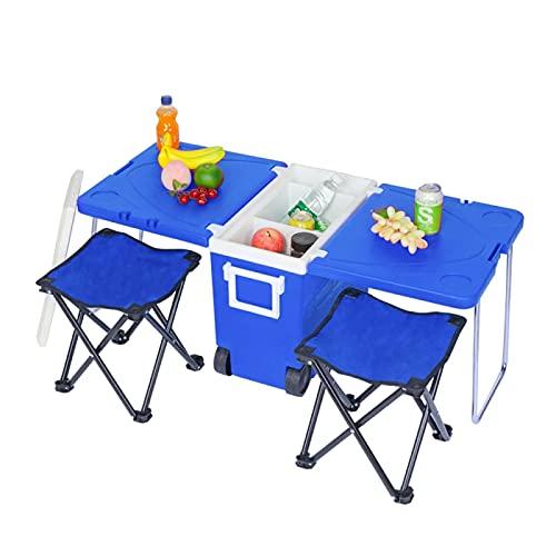 YAHAO Mesa de Camping Plegable,Nevera Plegable Multifuncional con Silla Plegable de Tela Oxford y Taburete Mesa de Camping Portátil Que Se Puede Refrigerar