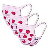3er-Pack Mundschutz Maske Kinder Junge & Mädchen waschbar, rosa pink Herzen | aus 100% Baumwolle Oeko-TEX 100 Standard Earloop-Design | wiederverwendbarer Mund und Nasenschutz | Ab 10
