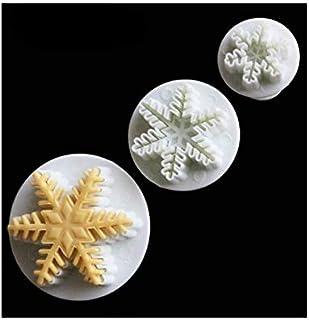 S.Han Plunger Cutter Snowflake Fondant Cookie Cutter Mould Mold 3pcs/Set Shape Baking Tools