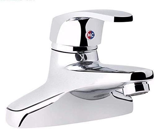 GUOCAO Baño Lavabo del baño del grifo del lavabo de mezclador del grifo de cobre cromado monomando de 2 agujeros agua caliente y fría 2 agujeros del lavabo grifo grifo de baño Bar Cocina