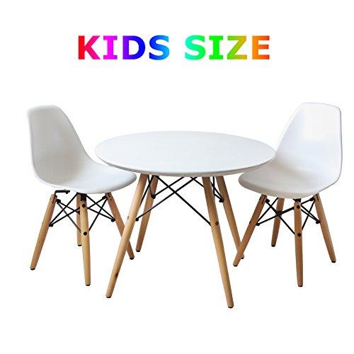 Buschman Kindermöbel | Tisch & Stuhl Set für Kinder | 2 Stühle aus Kunststoff ohne Armlehne und 1 runder MDF Tisch | Modernes Design, geschwungene Sitze, Holzbeine, Basis aus Stahl, Farbe Weiß