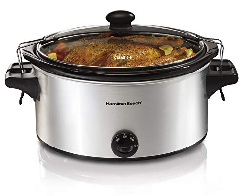 Hamilton Beach Stay or Go Portable 6-Quart Slow Cooker With Lid Lock, Dishwasher-Safe Crock, Silver (33262)