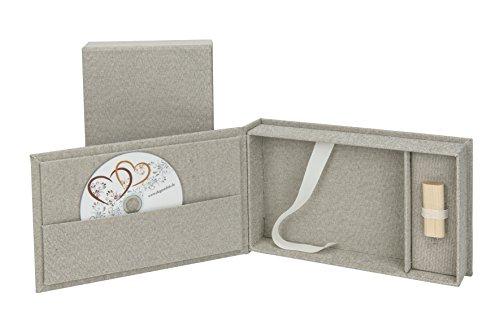 Elegantdisk bruiloft USB/DVD-opbergdoos met fotobox 13 x 18 cm. linnen.