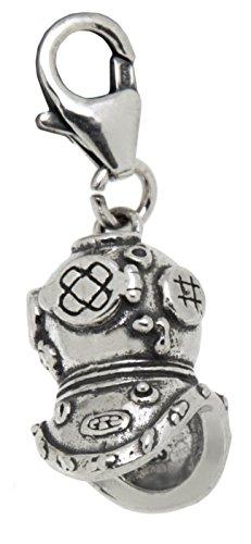 Charm-Anhänger Taucherhelm aus 925 Sterling Silber zum Einhängen in ein Bettelarmband