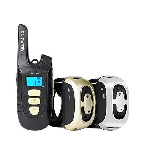 GLEADING Collar de Adiestramiento para Dos Perros Recargable con Mando a Distancia de Rango de 500 Metros, Pitido de Alerta y Modo de Vibración - Resistencia al Agua de IP67