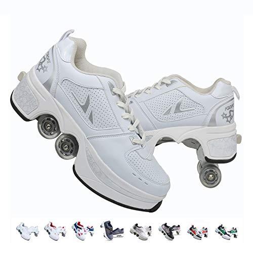 FGERTQW Rollschuhe für Kinder, Unisex, modisch, multifunktional, 2-in-1, automatisch einziehbare Rollschuhe, für Outdoor-Sport geeignet, Trainingsschuhe, Sneaker, weiß, 39