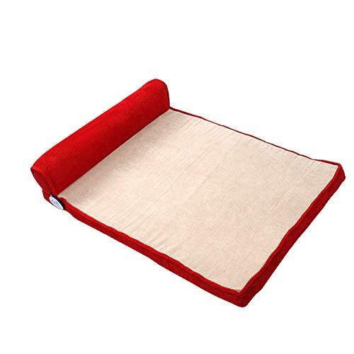 Hundebett Orthopädische, Großer Fressnapf Cot-Matte für Hunde Und Katzen, Anti-Slip mit Waschbarer Abdeckung (Color : Red, Size : 45×60CM)