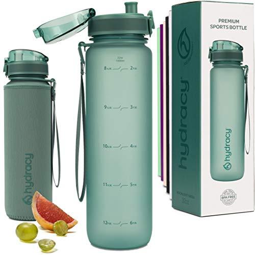 Hydracy Trinkflasche mit Infuser und Zeitmarkierung - 1Liter BPA-Frei Auslaufsicher Sportflasche - Kondenswasserfrei Wasserflasche - Ideal für Sport und Outdooraktivität - Mondlichtgrün