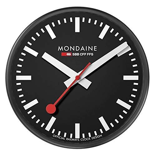 Mondaine Wanduhr - Schwarz Bahnhofsuhr - Edelstahl, A990.CLOCK.64SBB, 25 CM