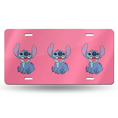 Suzanne Betty Placa de matrícula de aluminio – Happy Stitch para placa de matrícula de coche, accesorios de 30,5 x 15,2 cm